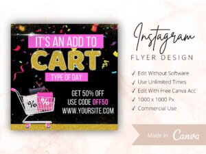 Add To Cart Flyer, Instagram Flyers, Canva Flyers