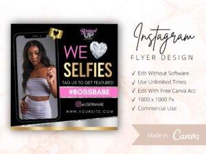 We Love Selfies Instagram Flyer, Tag Us In Selfie Flyer