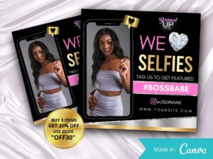 We Love Selfies Instagram Flyer, Ta...