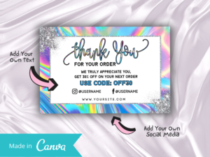 Holographic Thankyou Card Template ...