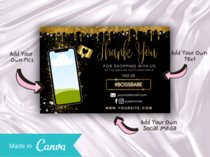 DIY Gold Dripping Thankyou Card Canva
