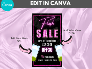 Flash Sale Instagram Story Template, Canva