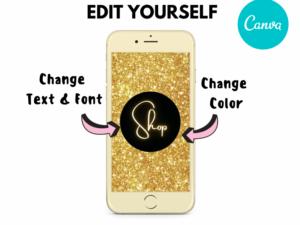 Gold Glitter Instagram Highlights, Canva Highlights