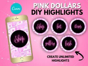 DIY Pink Dollars Instagram Highlights