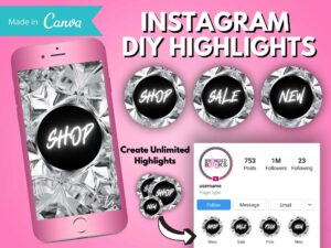 DIY Instagram Diamond Highlights, Canva