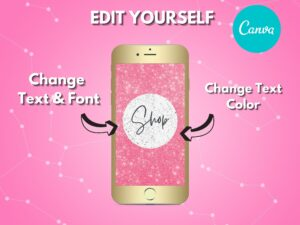 DIY Pink White Texture Instagram Highlights, Canva