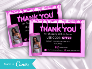 Hot Pink Thankyou Card Template Canva