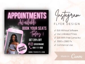 Appointments Available Flyer, Instagram Flyer