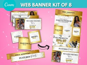 DIY Marble Gold Web Banner Kit Of 8
