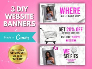 Hot Pink Marble Web Banner, Canva W...