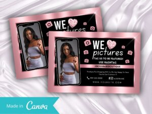 Rose Gold Thankyou Card Template Fo...