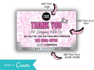 Pink Thankyou Card Template For Business, Customers