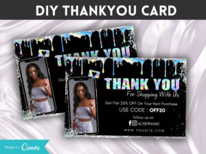 Holographic Thankyou Card For Customers, Business