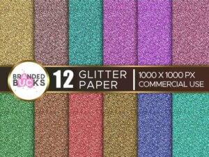 12 Glitter Digital Paper Texture Pack Multi Colors