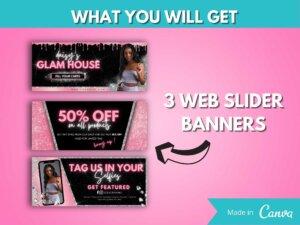 DIY Blush Web Banner Kit Of 8, Canva Banners