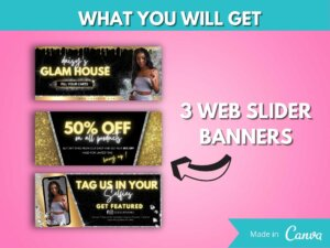DIY Gold Web Banner Kit Of 8, Canva Website Banners