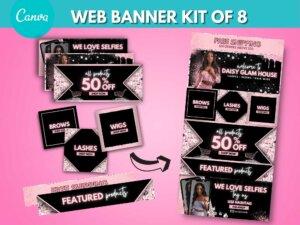 DIY Baby Pink Web Banner Kit Of 8