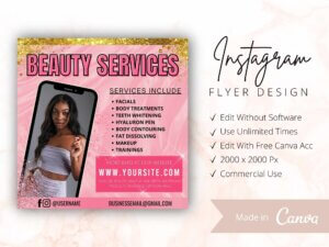 Pink Beauty Services Instagram Flyer Template