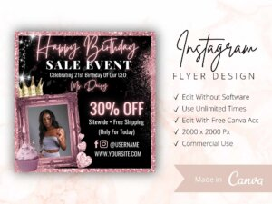 Rose Gold Happy Birthday Sale Flyer Template