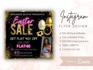 Gold Easter Sale Instagram Flyer Canva