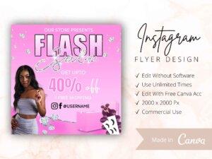 Pink Flash Sale Instagram Flyer Canva