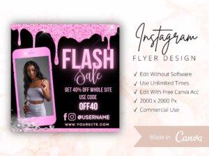Pink Dripping Flash Sale Flyer