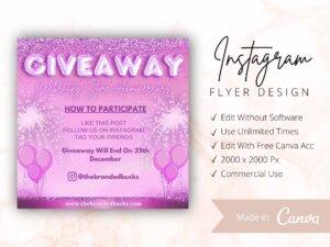 Pink Glitter Instagram Giveaway Flyer