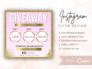 Gold Pink Instagram Giveaway Flyer Template