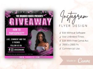 Hot Pink Instagram Giveaway Flyer Template