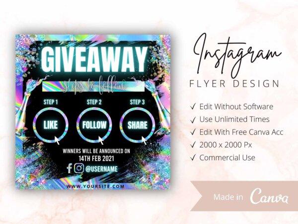 holographic giveaway flyer instagram