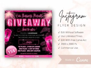 Pink Raffle Giveaway Instagram Flyer Template