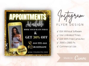 Appointments Available Instagram Flyer Gold