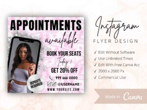 Appointments Available Instagram Flyer Pink