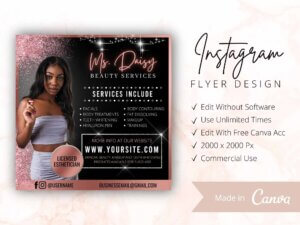 Beauty Services Instagram Flyer Template, Canva