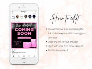 Pink Coming Soon Flyer template Canva