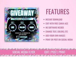 Holographic Giveaway Flyer Design For Instagram