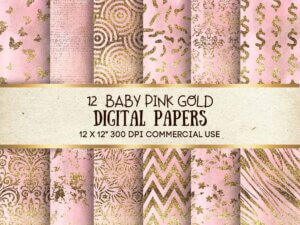 Baby Pink Digital Paper For Commercial Use