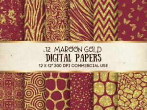 Maroon Gold Digital Paper, Scrapbook Papers, Glitter Papers