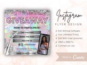 Giveaway Instagram Flyer, Canva Flyer