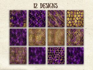 Purple Gold Digital Paper, Scrapbook Papers, Glitter Papers