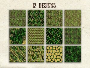 Green Gold Digital Paper, Scrapbook Papers, Glitter Papers
