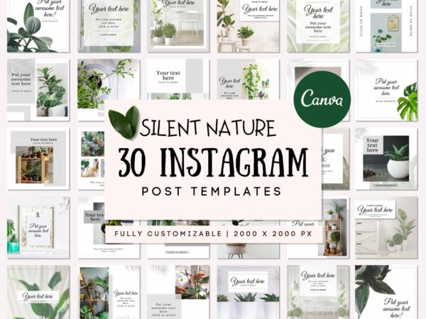 green nature instagram post template pack