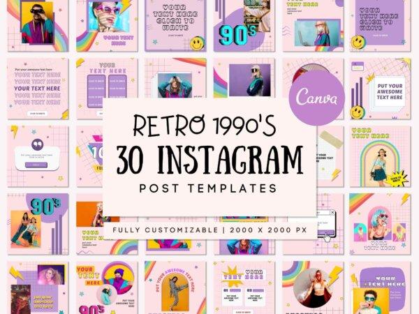 retro instagram template pack