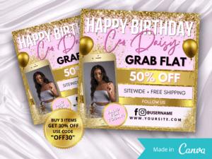 Purple Gold Happy Birthday CEO Instagram Flyer