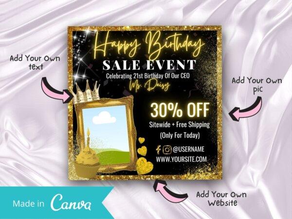 gold happy birthday flyer