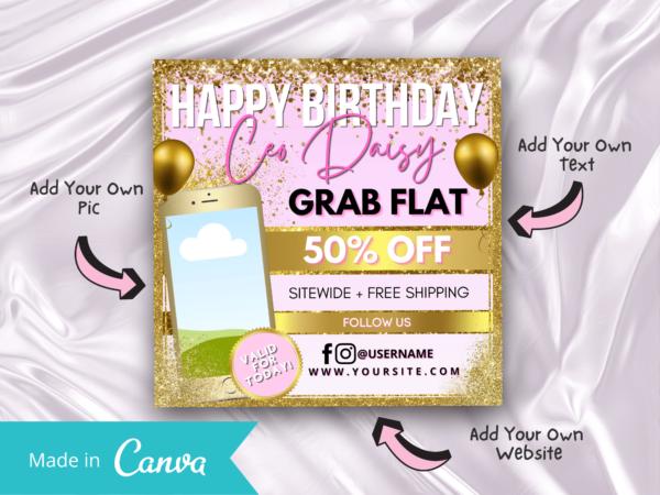 Happy birthday ceo instagram flyer
