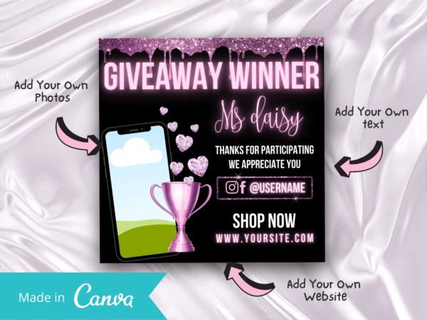 Pinkish Purple Giveaway Winner Instagram Flyer Template