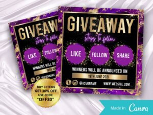 Purple Gold Giveaway Flyer Template For Instagram