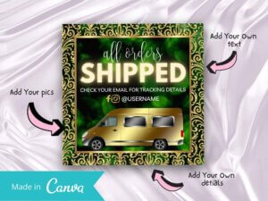 Royal Green Order Shipped Instagram Flyer Canva