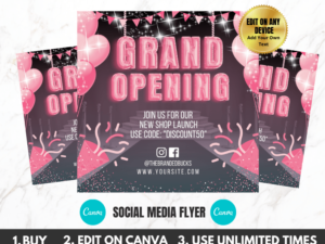 Pink Grand Opening Flyer Template For Instagram